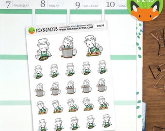 Cooking Foxes - Fox Chef Baking Cook Meal Prep Food - Planner Stickers (C0031)