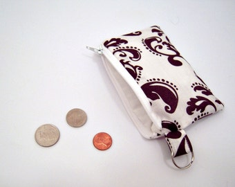 White and Brown Paisley Coin Pouch