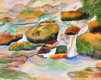 "MOUNTAIN STREAM, Original watercolor painting 15"" X 22"""