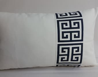 RTS, white cotton pillow with navy and white Greek key applique, 20 x 12 inches,