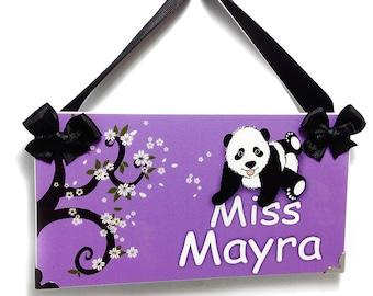 personalized teachers gift classroom door sign - panda purple themed school decor - P408