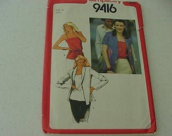 VINTAGE 1980s Simplicity Pattern 9416, Misses Camisole with Shoulder Straps, Unlined Jacket, Size 16, Bust 38, Uncut