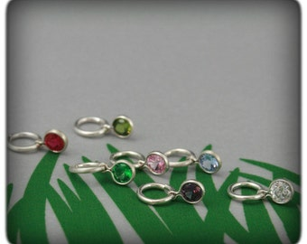 Birthstone Charm Add On~Charm ONLY~Add to your bracelet or pendant~Sterling Silver Bezel with Synthetic Birthstone~Custom Charm~Month Charm