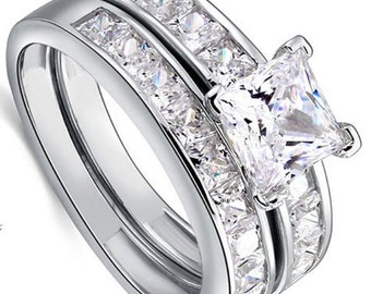 1 ct Engagement Ring Set, Simulated Diamond Ring, LOVE CHOSEN 1 Carat Sterling Silver Wedding Ring Set, Simulant, Bridal Rings, Promise Ring