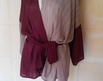 Blouse Kimono in two-color cotton, red wine and Rose