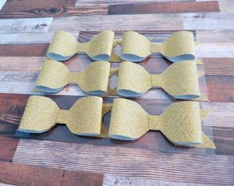 Handmade gold glitter paper bows - set of 6 - Decorations/Scrapbook/Planner/Bag Bows/Craft Ideas