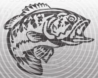 Fishing SVG File,Bass SVG,Largemouth Bass SVG File,Cutting Template Vector Clip Art for Commercial & Personal Use-Cricut,Cameo,Silhouette,