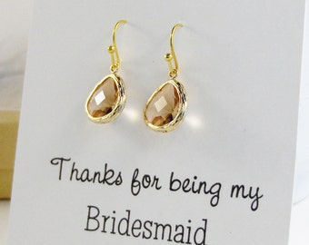 Gold Champagne,Peach Bridesmaid,Champagne Bridesmaid,Peach Bridesmaid,Bridesmaid Gift,Peach Earring,Jewelry Sets,Wedding,valleygirlwedding
