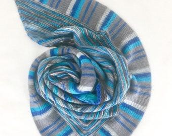 Hand Knitted Boho Striped Triangle Shawl Neck warmer Knit Scarf Knit Wrap Grey/Rainbow Bue