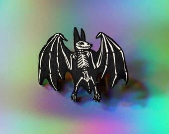 Bat Skeleton Pin, black and white, laser cut acrylic