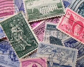 40 Vintage Postage Stamps,  Stamps, Pastel Stamps, Postage Stamps, Bulk Stamps, Craft Stamps