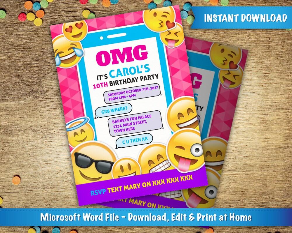 diy druckbare 5 x 7 emoji geburtstag einladung vorlage