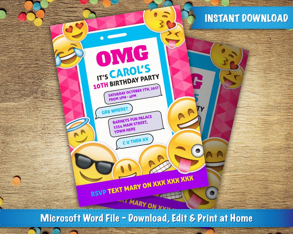 It is an image of Astounding Emoji Invitations Printable