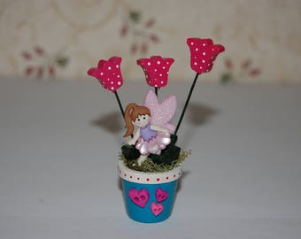 Fairy Decoration - Miniature Flowerpot with Fairy and Tulips