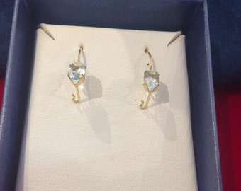 Gold and aquamarine earrings