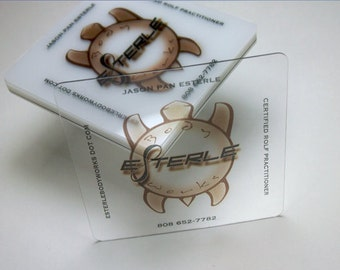 "100 Business Cards - Clear transparent plastic stock - 20 PT Thick - 2.5""x2.5"" square social cards - full color - free rounded corners"
