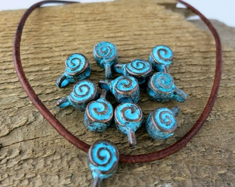6 Spiral Mykonos  Bails, Green Patina, Metal Casting, 8mm, Lead Free Metal, Made in Greece, MX2788