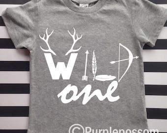 Wild One First Birthday Shirt Jersey Hipster Kids