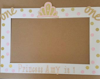 Pink and Gold Princess Frame great as a photo booth prop or a decoration! You choose the Name and Number.