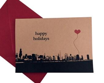 Happy Holidays Chicago Skyline note card set