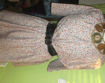 Fun and Flirty Vintage Dress with Adorable Colorful Square Dots Print