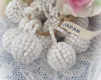 Vintage Beaded Ball Made in Japan Chalk White Color