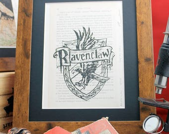 Ravenclaw linocut on upcycled Harry Potter book. Limited edition Order of the Phoenix lino print inc.  Hufflepuff, Gryffindor & Slytherin