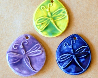 3 Handmade Ceramic Dragonfly Beads in Bright Spring Colors