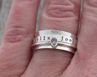 Name Ring, Spinner Ring, Personalized Ring, Birthstone Ring, Personalized Spinner Ring, Spinner Ring for Women, Sterling Silver, Handmade