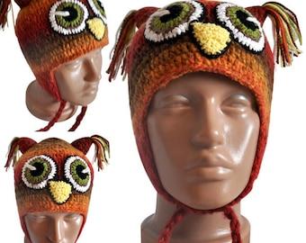 owl hat, knit hat, autumn hat, winter hat, baby girl hat, baby boy hat, funny hat