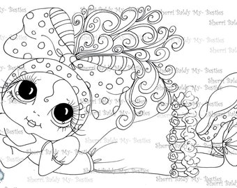 INSTANT DOWNLOAD Digital Digi Stamps Big Eye Big Head Dolls Digi  My Besties IMG030 By Sherri Baldy