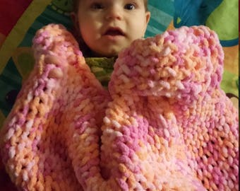 Pink and orange blanket set, pink and grey baby blanket set, crochet blanket, Crochet hat, peaches blanket set