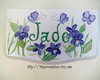 personalized large white hanging jewelry box, hand painted, violets, butterflies,girl's jewelry box, kids jewelry box,personalized gift