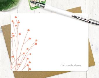 papeterie personnalisée de - délicates fleurs - set de 12 cartes de correspondance plat - choisissez couleur - papeterie personnalisée
