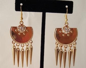 Gold Spike & Crystal Earrings - Gold Spike Earrings - Crystal Earrings - Gold Earrings - Spike Earrings - Dangle Earrings - Gold Dangle