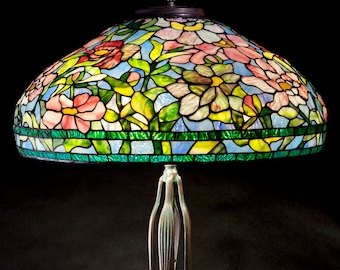 Tiffany Replica, Stained Glass Lamp, Glass Lighting, Glass Light Shade, Lamp Shade Vintage, Lamp Set, Glass Light, Peony Tree