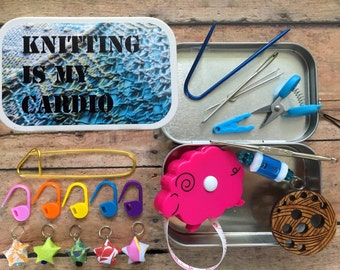 Knitting is my Cardio - Knit kit tin with knitting and notions for your WIP bag!