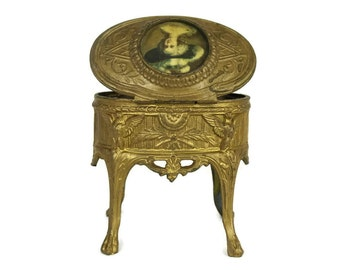 French Antique Jewelry Casket with Miniature Portrait. Romantic French Ormolu Box.