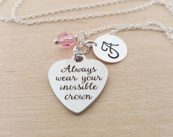 Always Wear Your Invisible Crown Necklace - Birthstone Necklace - Personalized Gift - Initial Necklace - Sterling Silver Necklace - Princess