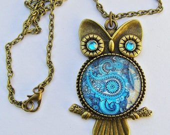 """Owl with Paisley Glass bead Pendant on Bronze colour 18"""" Necklace Handmade Arts and Craft"""