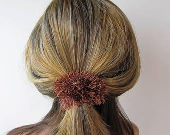 Scrunchy wool accessorie scrunchy hair ties hair elastic pom pom scrunchy fluffy yarn scrunchie scrunchies brown scrunchy fluffy scrunchie