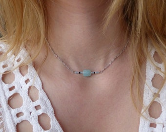 amazonite, blue gemstone Choker, delicate necklace, gift for wife, Native American inspired, necklace beads, Bohemian