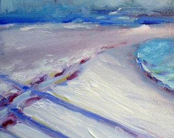 18th Street Snow 1 original Winter landscape oil painting
