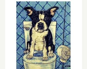 Boston Terrier - 13x19 PRINT, boston terrier art, dog, dog art, dog print, bathroom , bathroom art
