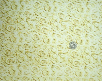 Quilting Treasures  - I Do - 25795 - Cream Roses Packed Allover - One Yard of Fabric