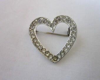 Antique Rhinestone Heart Shaped Brooch
