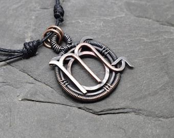 Taurus Scorpio zodiac necklace wire wrapped