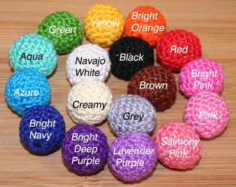 10 x choose colour 23mm Crochet Beads - for necklaces, accessories, craft