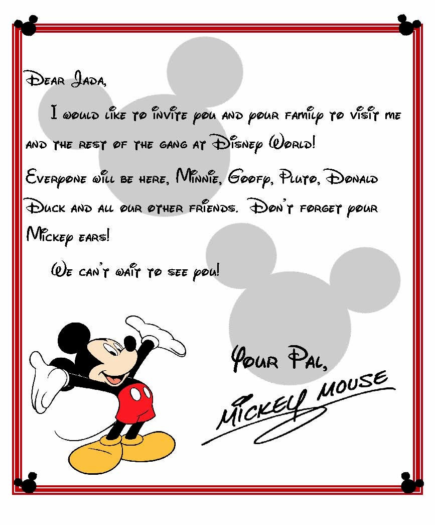 Custom Disney World Letter from Mickey Invitation to Disney