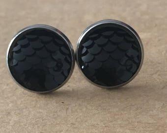 Black Mermaid Scale Earrings, Black Dragon Scale Earrings